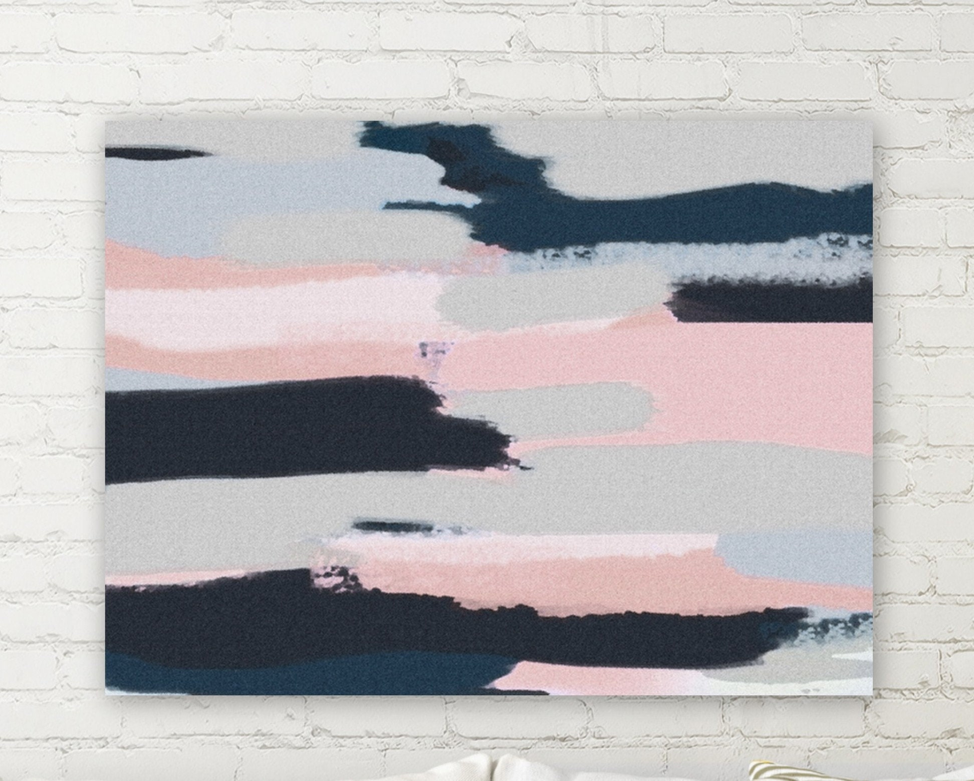 Navy pink wall art canvas navy pink grey white wall decor canvas print