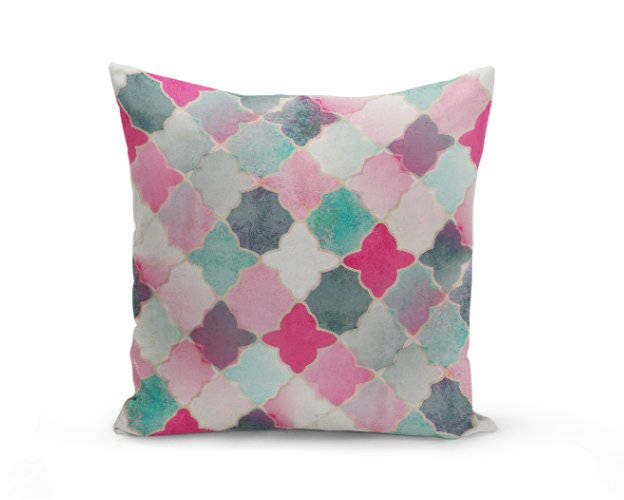 Navy And Teal Throw Pillows: Throw Pillow Cover Quatrefoil Pillow Cover Pink Navy Mint