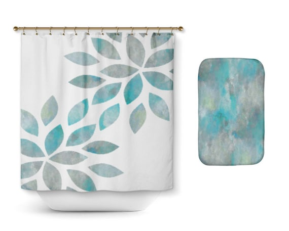 Shower Curtain Bathroom Decor Aqua Teal Grey Flower Petal Bath Mat