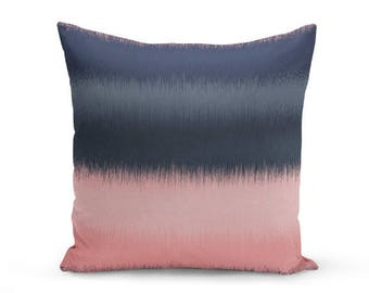 Throw Pillow Cover, Cushion Cover, Abstract Art, Pink Navy, Decorative Pillow Cover