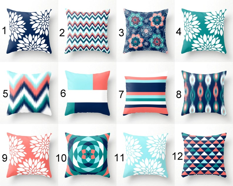 Charmant Throw Pillows, Pillow Covers, Navy Aqua Coral Teal Pillow Covers, Mix And  Match Home Decor (M23) Decorative Pillows Decorative Pillows