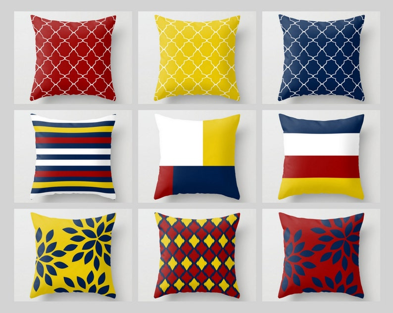 Throw Pillow Covers Navy Mustard Yellow Crimson White Primary Etsy