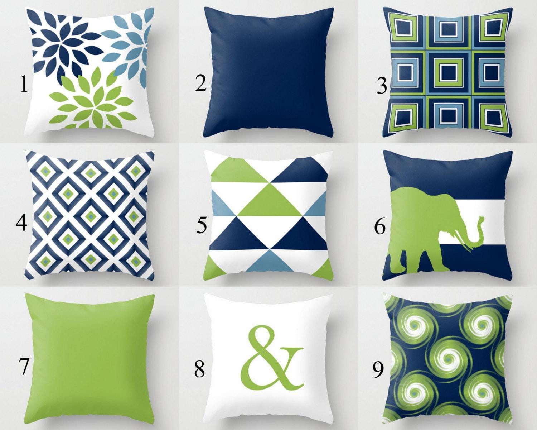 Home Decorators Outdoor Cushions: Outdoor Pillows Navy Pear Green White Outdoor Home Decor