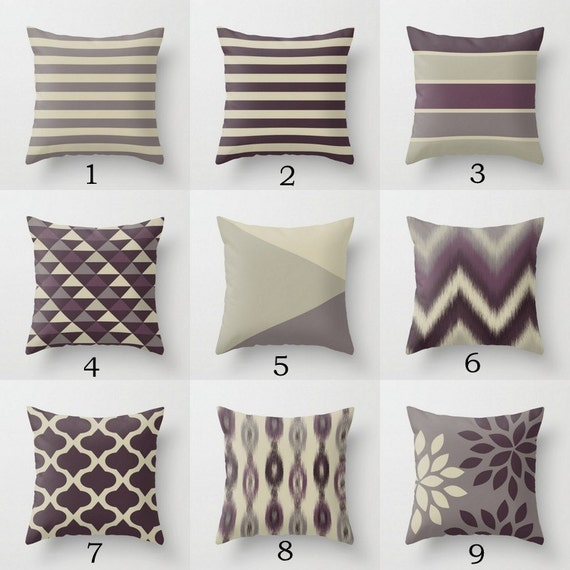 Enjoyable Throw Pillow Covers Plum Purple Grey Couch Cushion Cover Decorative Pillows Andrewgaddart Wooden Chair Designs For Living Room Andrewgaddartcom