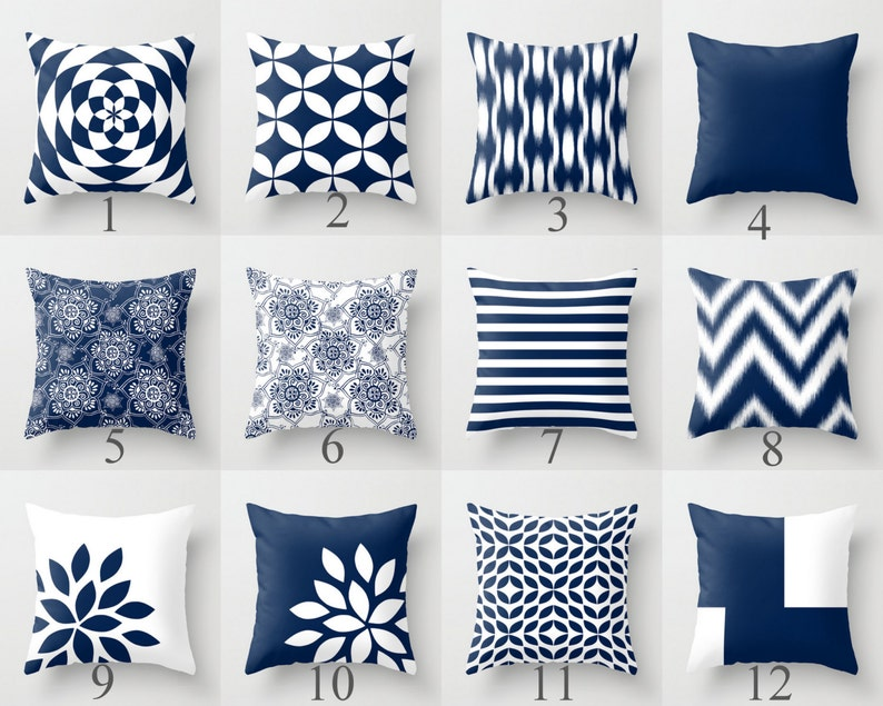 Blue Throw Pillows, Blue Pillows, Navy Blue Decorative Pillow Covers,  Chevron Throw Pillows, Cover Only Decorative Pillows