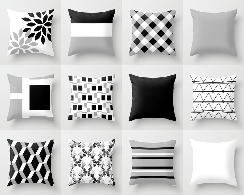 Throw Pillow Cover Black White Grey Couch Cushion Cover Etsy