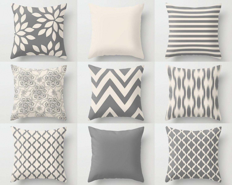 Neutral Throw Pillow Covers Home Decor Grey Beige Pillow