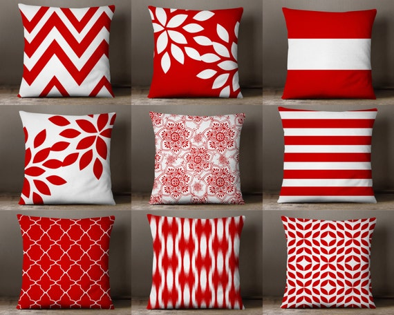 Throw Pillow Covers Red And White Pillow Covers Floral Pillow Etsy