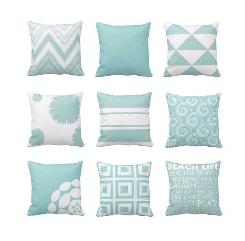 Throw Pillow Covers Blue White Beach Decor Modern Geometric   Etsy