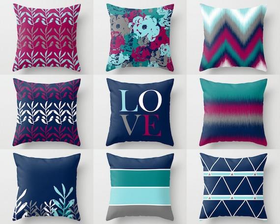 Throw Pillow Covers Fuchsia Navy Teal Aqua Grey White Mix Etsy Enchanting Teal And Grey Decorative Pillows