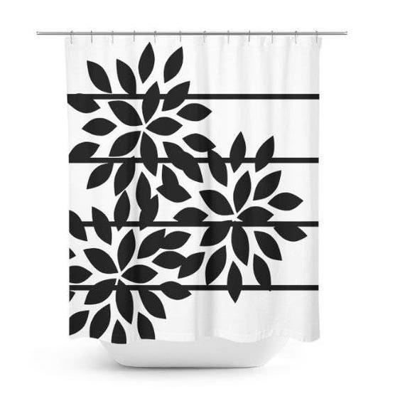 Floral Shower Curtain Striped Black White Abstract Art Etsy