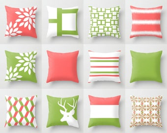 """Coral Pillow Covers Throw Pillow Covers Decorative Pillow Covers Accent Pillow Covers Green Pillow Covers Home Decor 16"""" 18"""" 20"""" 26"""