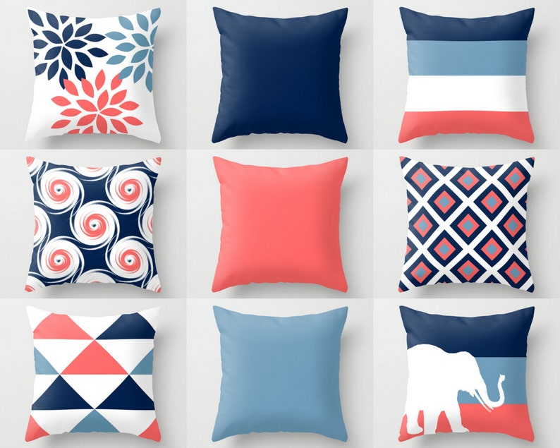 Throw Pillow Cover Navy Stone Coral White Couch