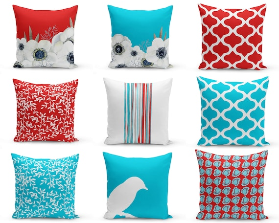 Outdoor Pillows Red Turquoise White Patio Decor Outdoor Etsy