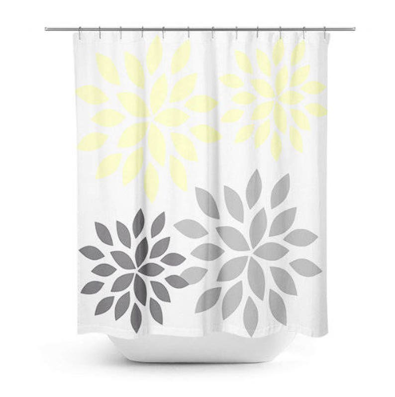 Floral Shower Curtain Yellow Grey White Art Bathroom