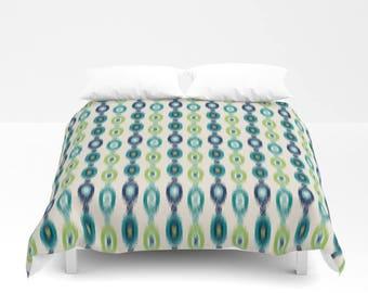 Duvet Cover, Navy Teal Pear Green Beige Ikat Bedding, Home Decor, Twin Queen King