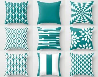 Outdoor Pillows, Teal White Pillows, Outdoor Home Decor, Outdoor Throw Pillows