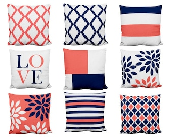 Throw Pillow Covers, Navy Coral Pillows, Love, Trellis, Color block, Cushion Covers, Accent Pillow Covers, Home Decor, Mix and Match