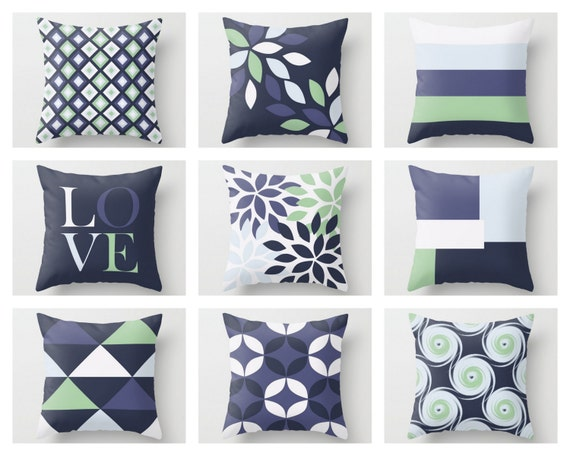 Throw Pillow Covers Accent Pillow Covers Navy Pillow Covers Etsy Inspiration Throw Pillow Covers Etsy