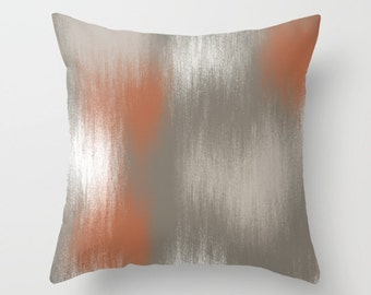 "Throw Pillow Cover, Rust Grey White, Home Decor, Decorative Pillow Cover, 16"" 18"" 20"" 26"""