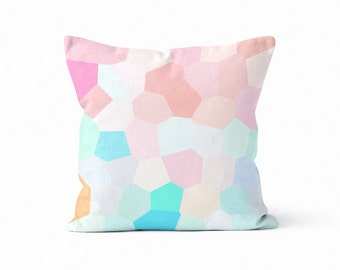 Throw Pillow Cover, Geometric Pillow Cover, Pastel Pillow Cover, Nursery Decor, Mosaic Pillow Cover, Home Decor  Pink Aqua Orange Peach