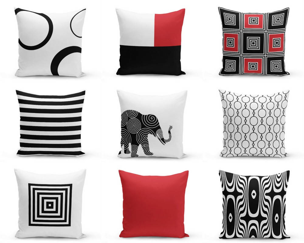 Throw Pillows Covers Black Red White 16 18 Etsy