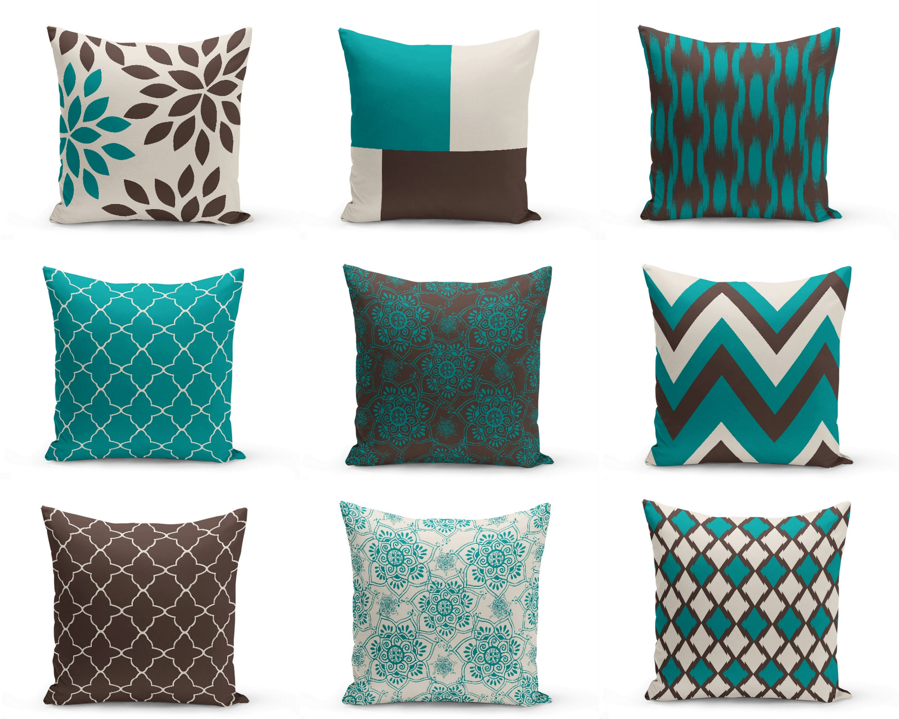 Outdoor Pillows Teal Brown Beige Outdoor Home Decor