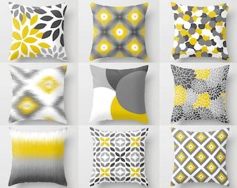 Outdoor Pillows, Yellow White Grey, Outdoor Home Decor, Outdoor Throw Pillows
