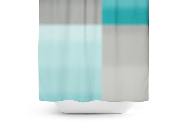 Teal Grey Shower Curtain Bath Gray Bathroom Decor