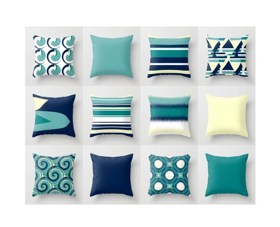 Stupendous Throw Pillow Covers Navy Yellow Teal Modern Geometric Contemporary Home Decor Couch Cushion Decorative Pillows Bralicious Painted Fabric Chair Ideas Braliciousco