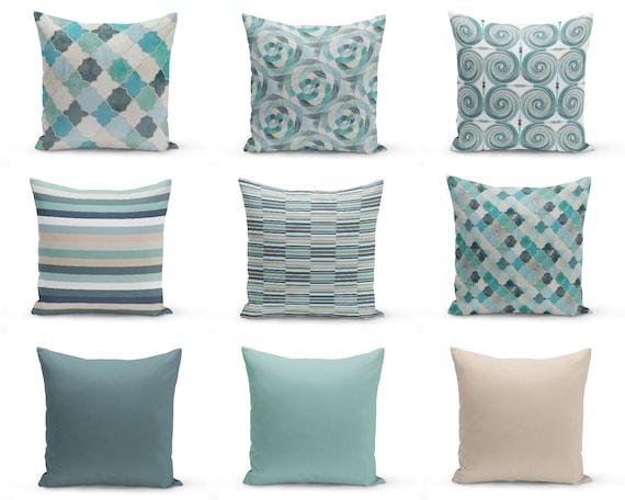 Outdoor PillowsBlue Beige Seafoam Teal Aqua Outdoor Home Etsy Cool Seafoam Decorative Pillows