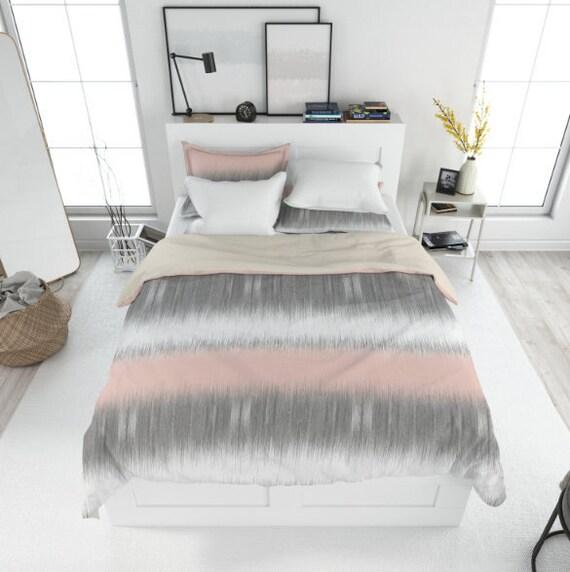 Blush Grey Duvet Cover Blush Grey White Bedding Twin Queen Etsy