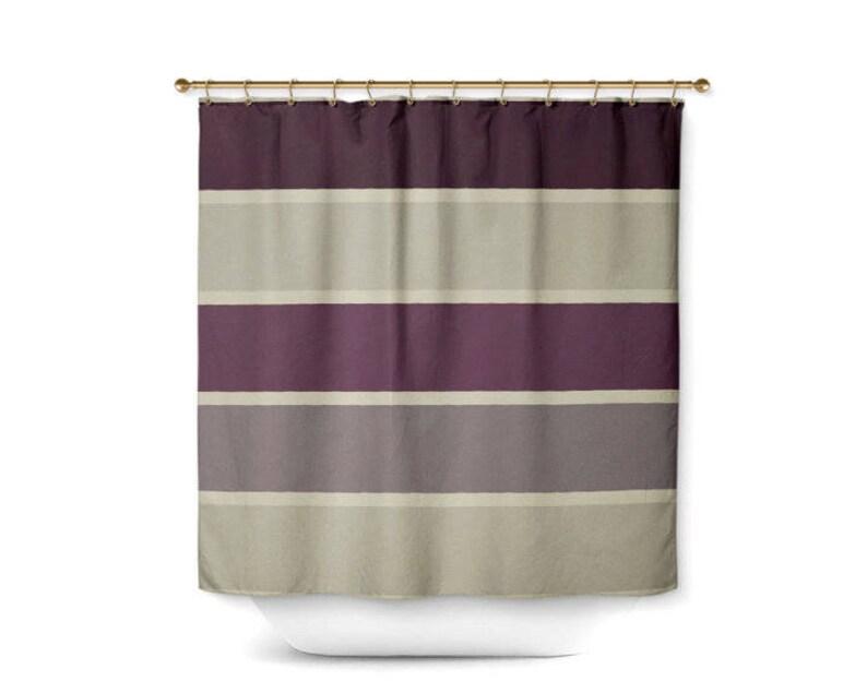 Striped Shower Curtain Bath Grey Beige Plum Muted