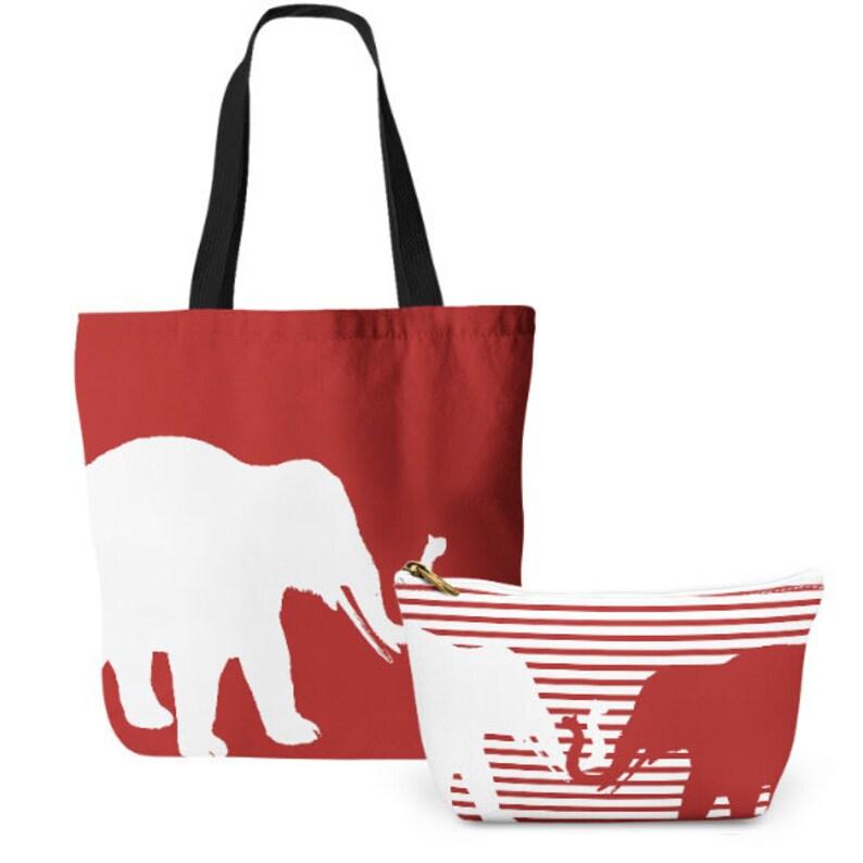 da70ae013 Elephant Tote Bag Cosmetic Bag Tote and makeup bag set