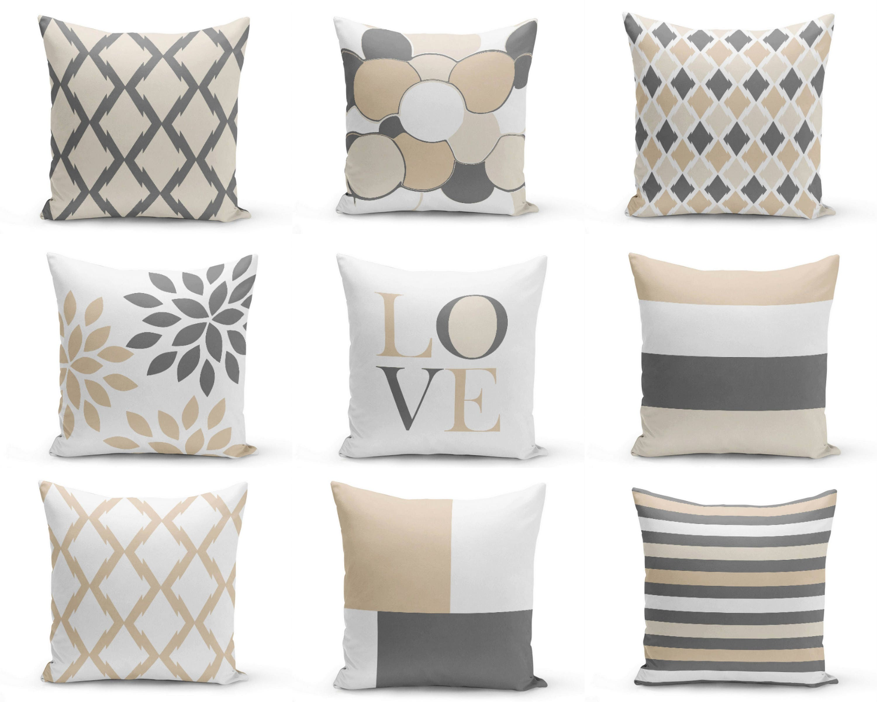 Neutral Accent Pillows Pillow Covers Neutral Decor Love Etsy