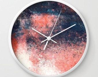 Coral Navy Clock, Wall Decor, Home Decor, Modern Wall Art