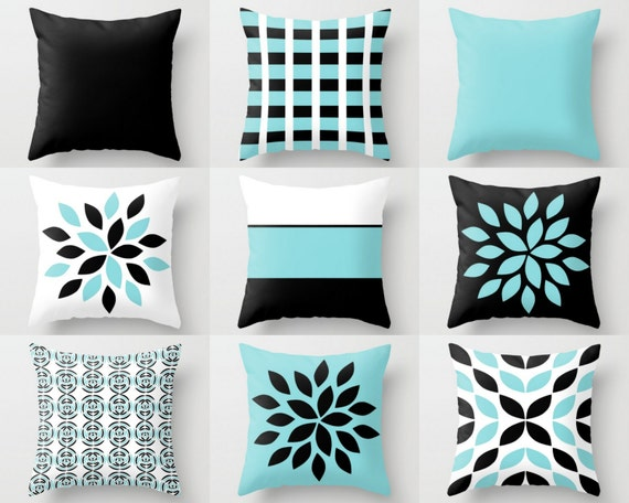 Couch Pillow Covers Aqua Black White Pillow Covers Floral