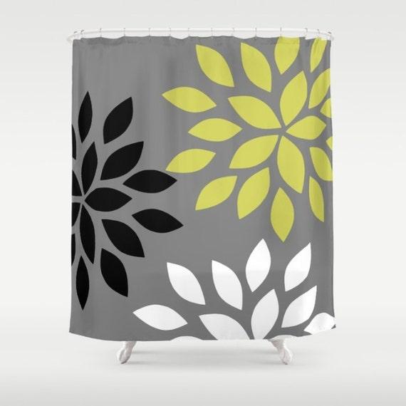 Rideau de bain floral douche Rideau gris noir blanc vert Art salle ...