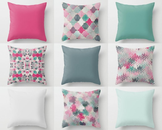 Home Decorators Outdoor Cushions: Outdoor Pillows Pink Green Mint Teal Outdoor Home Decor