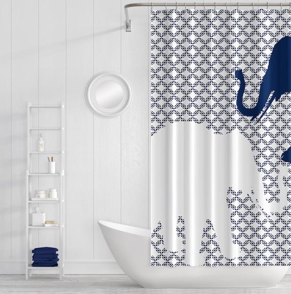 Elephant Shower Curtain Navy White Art Bathroom Accessories