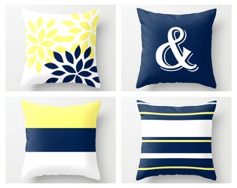 Navy Yellow Pillow Covers, Decorative Pillows, Ampersand, Floral, Mix and Match, Throw Pillow Covers, Home Decor Navy White Yellow
