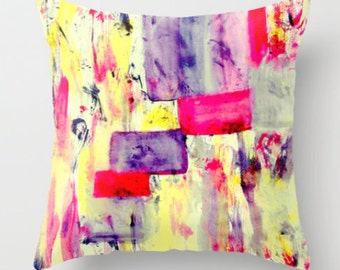 Throw Pillow Cover Abstract Purple Red Pink Yellow Black Modern Home Decor Cushion Cover Decorative Pillow Cover Accent Pillow Cover