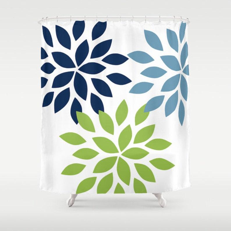 Dahlia Shower Curtain Pear Navy Stone Art Bathroom Accessories