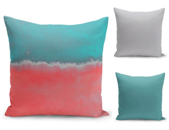 Abstract Throw Pillow Cover Teal Coral Grey Modern Home Decor Living room  bedroom accessories Cushion