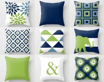 Outdoor Pillows, Navy Pear Green White, Outdoor Home Decor, Outdoor Throw Pillows