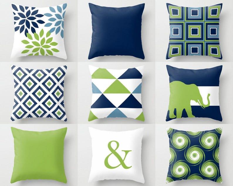 Outdoor Pillows Navy Pear Green White Outdoor Home Decor Etsy
