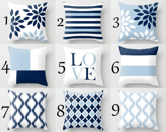 Throw Pillow Covers Light Blue White Navy Blue Pillow Etsy Custom Navy Blue And White Decorative Pillows