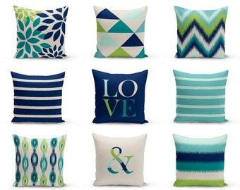 Outdoor Pillows, Navy Beige Teal Beige Pear , Outdoor Home Decor, Outdoor Throw Pillows