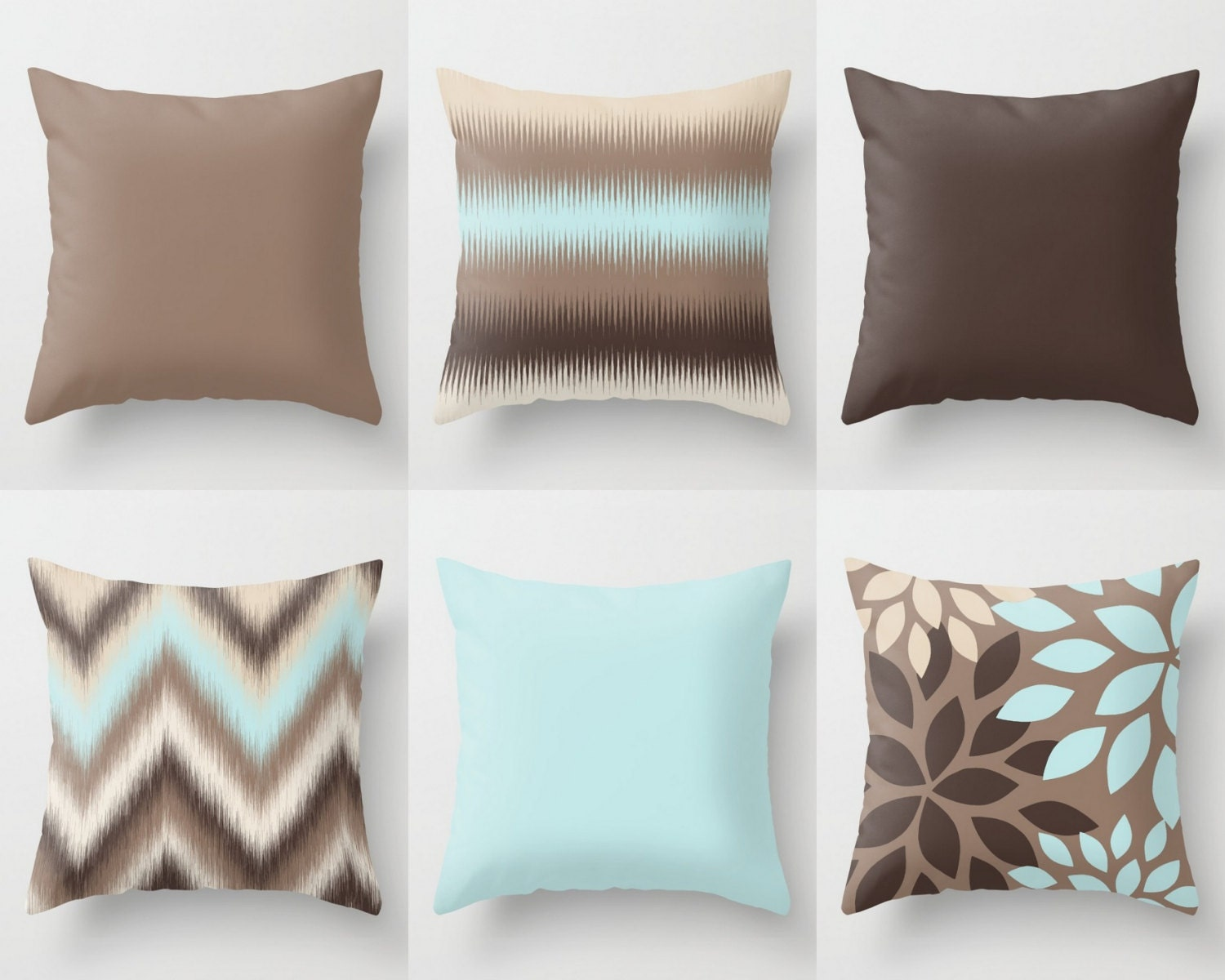 Throw Pillow Covers Light Blue Beige Brown Mix And Match