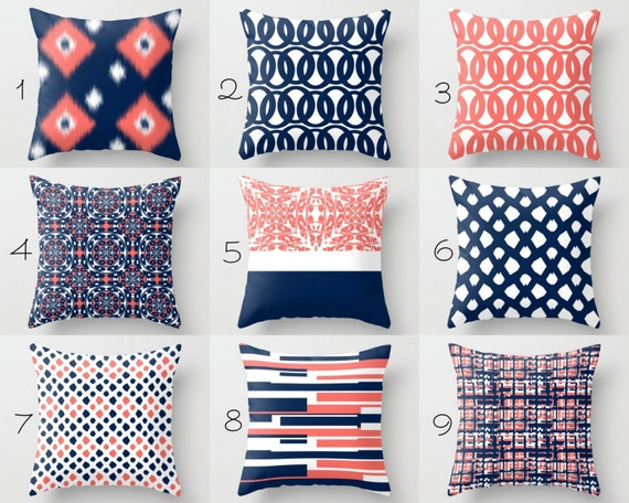 Throw Pillow Covers Navy Pillow Covers Coral Pillow Covers Etsy New Throw Pillow Covers Etsy